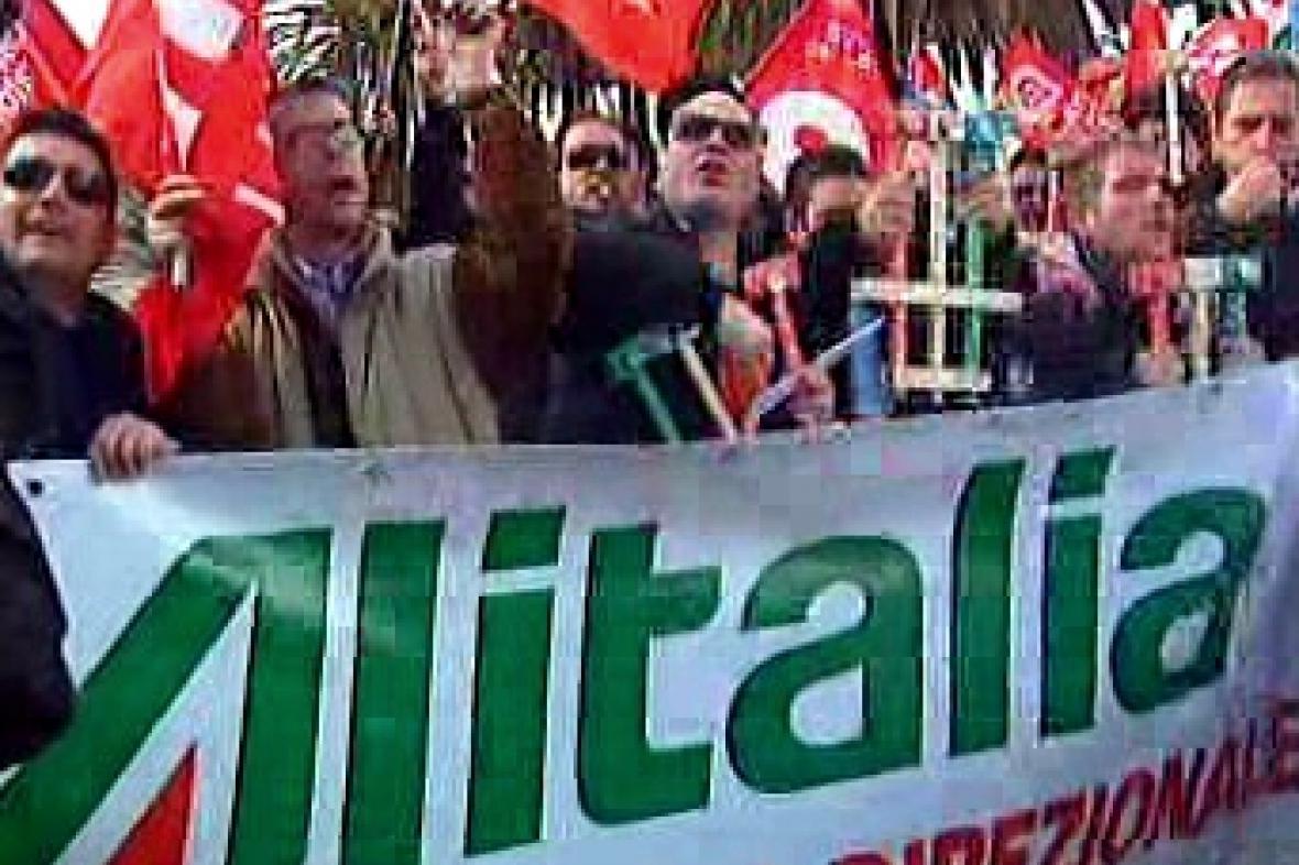 Stávkující zaměstnanci Alitalie