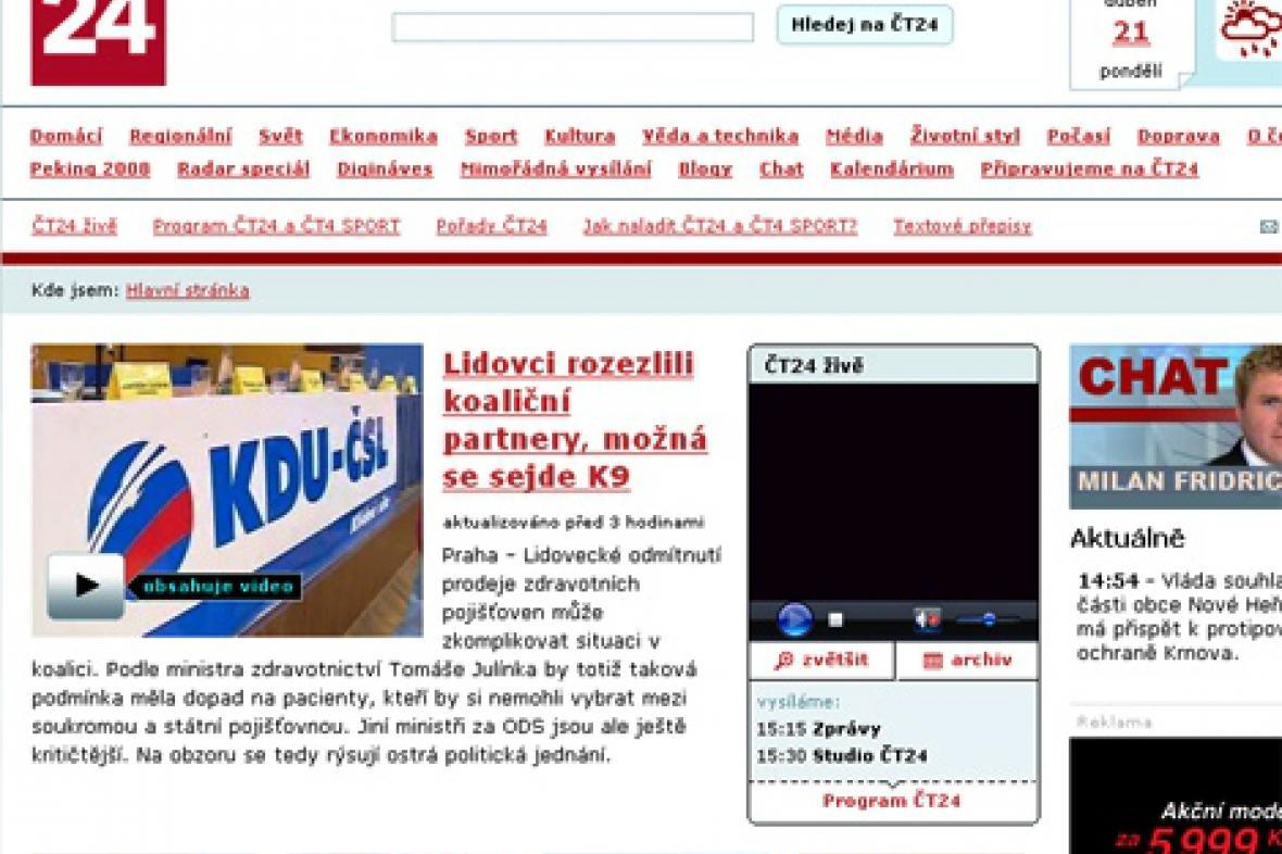 Homepage portálu ČT24