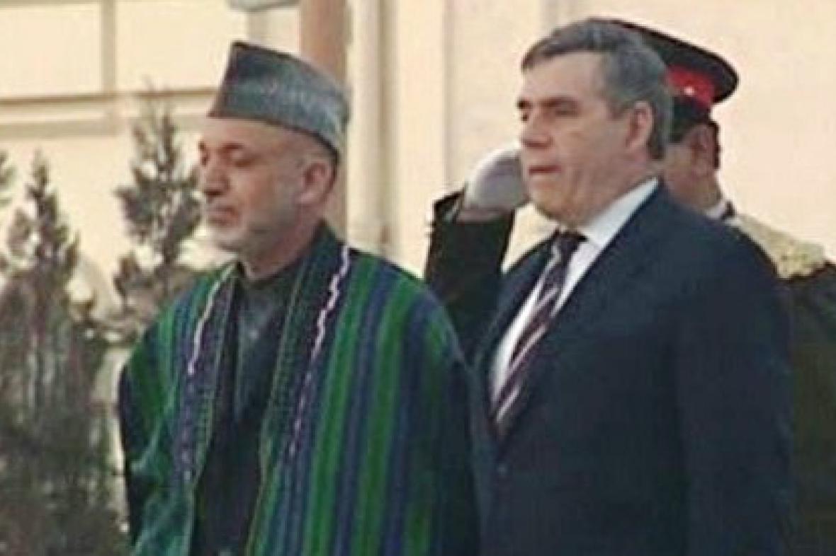 Hamíd Karzáí s Gordonem Brownem