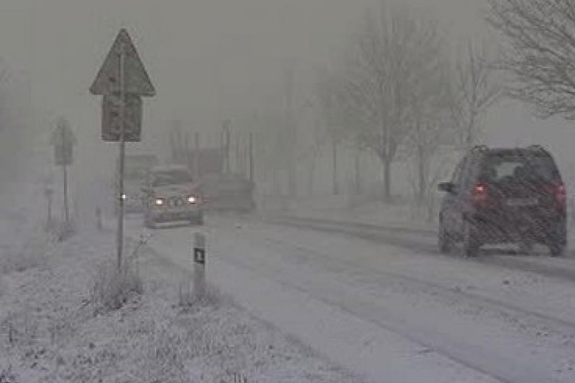 Sníh na českých silnicích