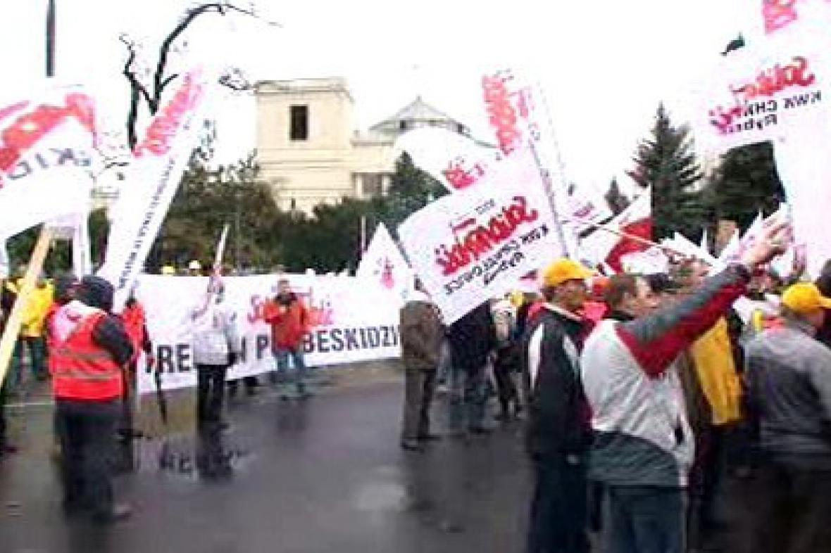 Demonstrace polských odborářů