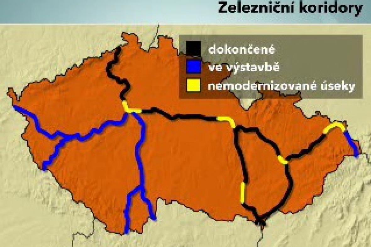 Mapa železničních koridorů