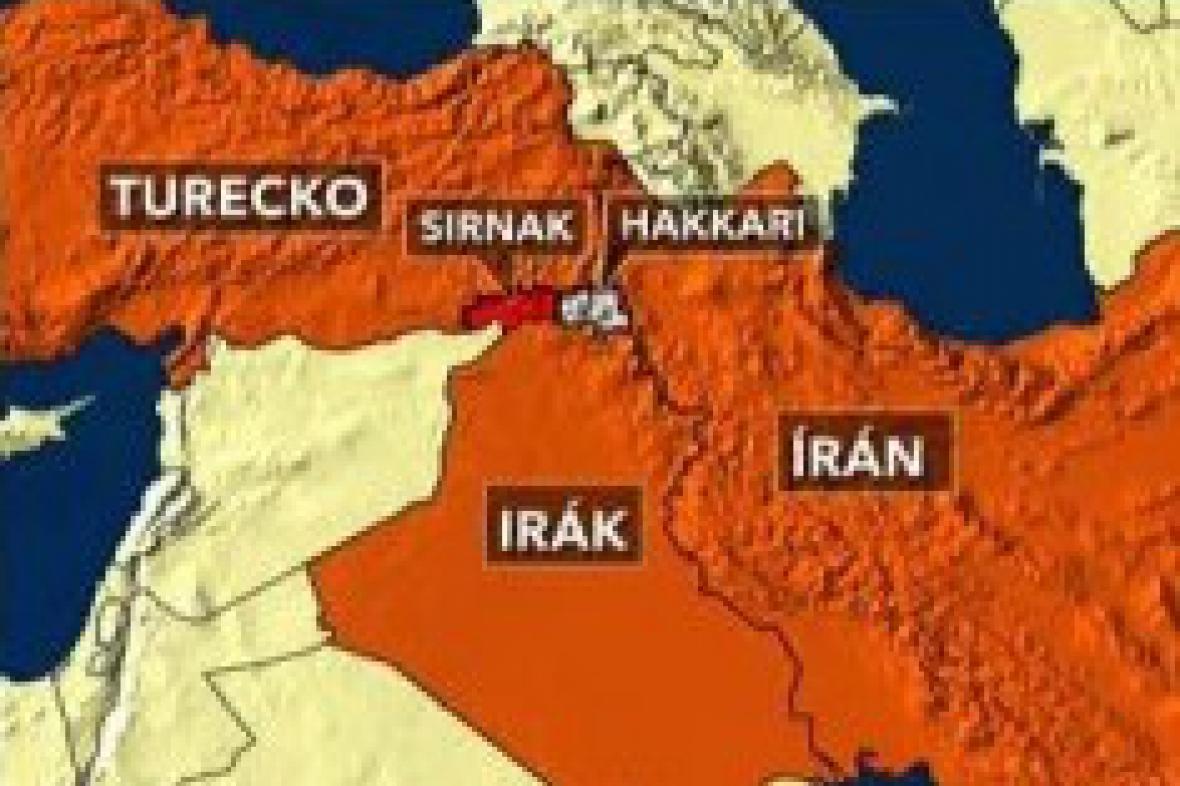 Mapka území Turecka, Iráku a Íránu