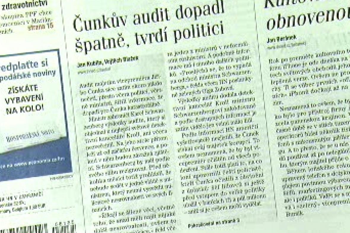 Spekulace o Čunkově auditu