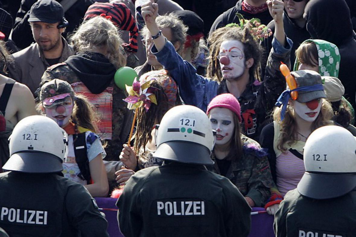 Levicová demonstrace v Kolíně nad Rýnem