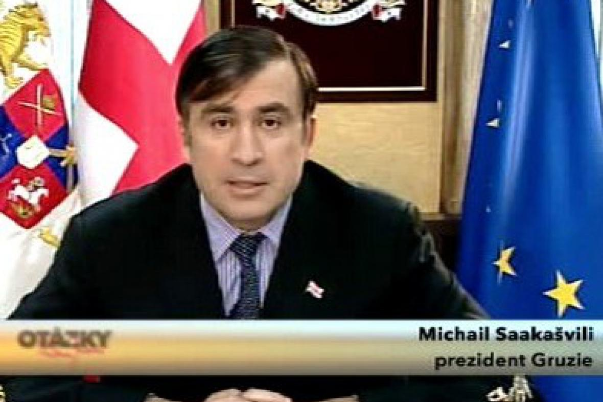 Michail Saakašvili v Otázkách Václava Moravce