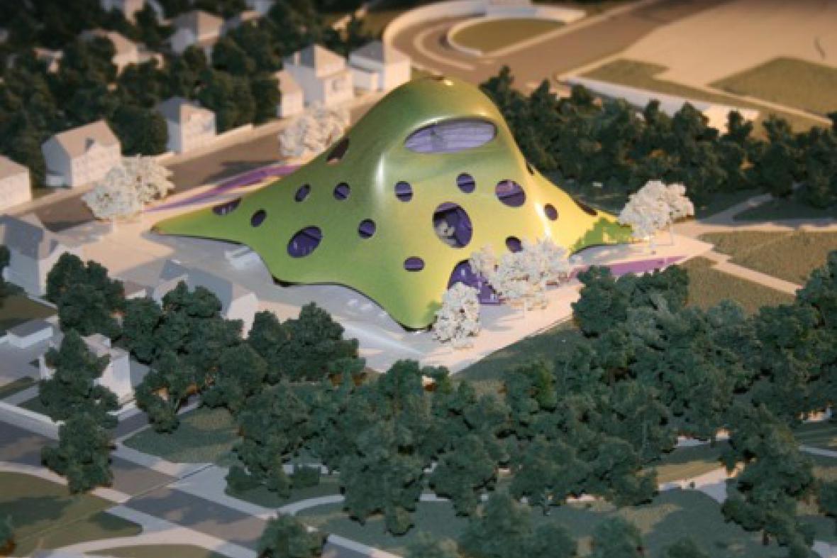 Model nové budovy Národní knihovny