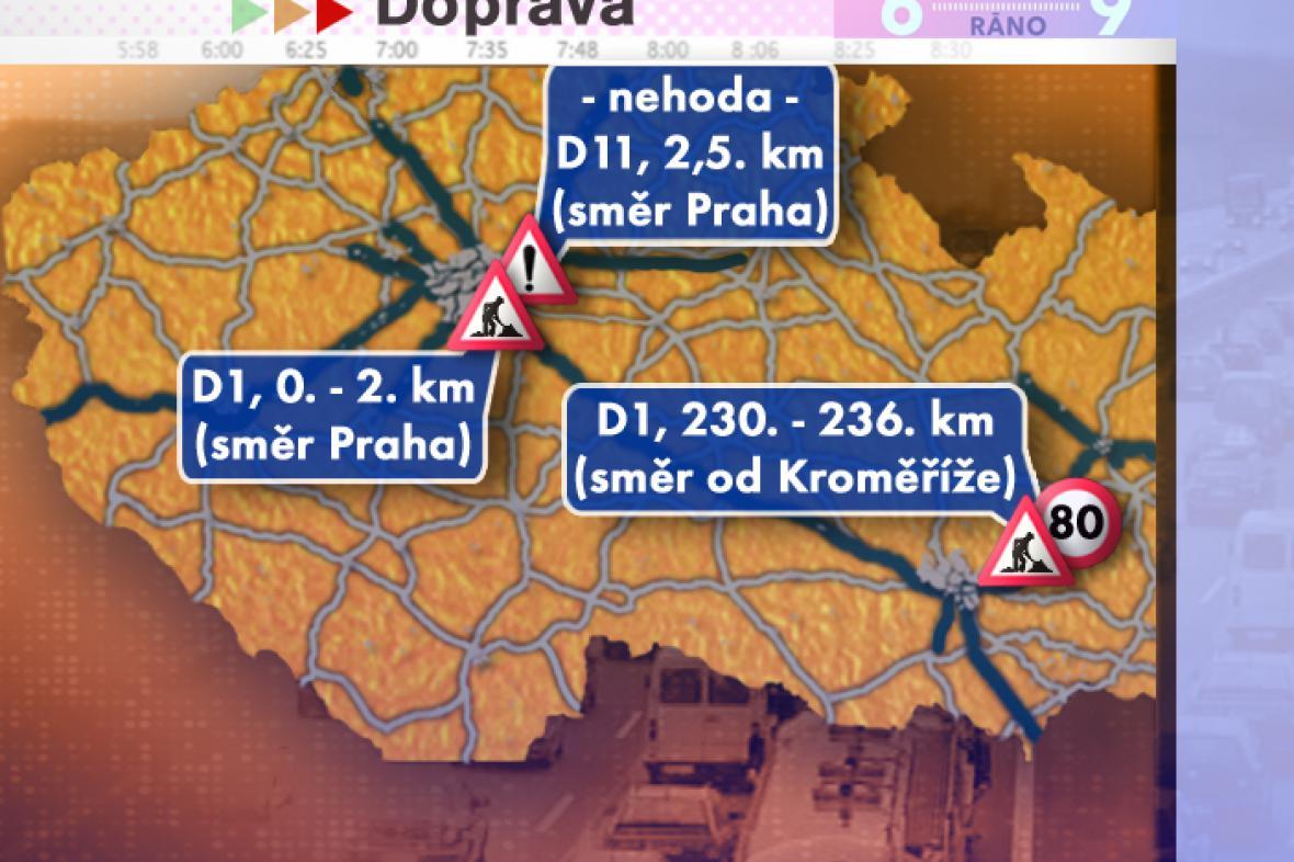 Dopravní situace v pondělí 21. 7. 2008
