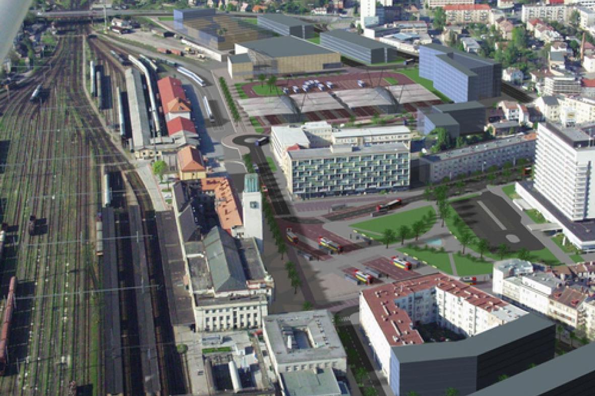 Návrh autobusového nádraží v Hradci Králové