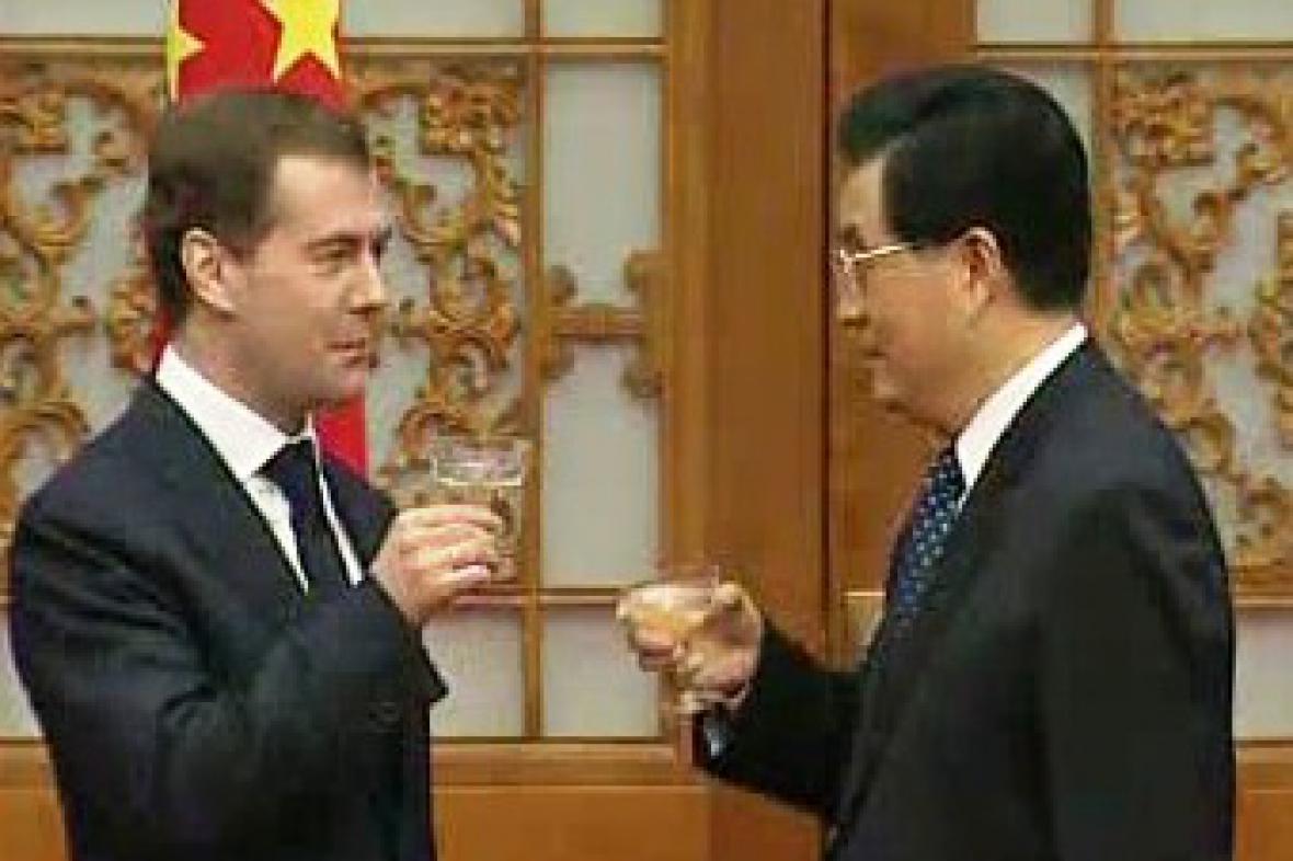 Dmitrij Medveděv a Chu Ťin-tchao