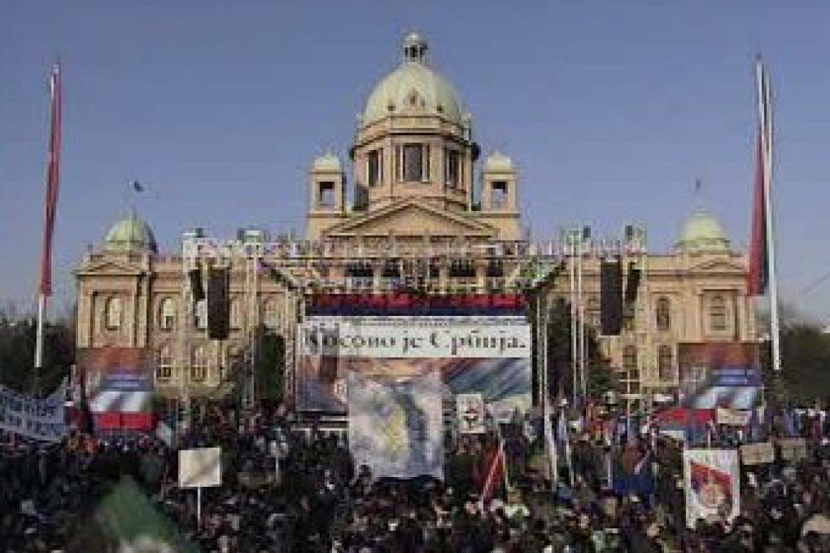 Demonstrace proti vzniku samostatného Kosova