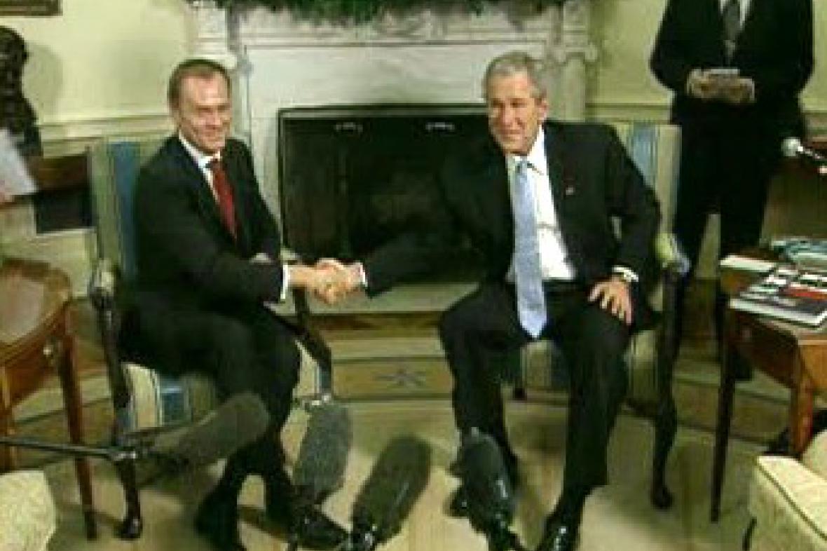 Donald Tusk a George Bush