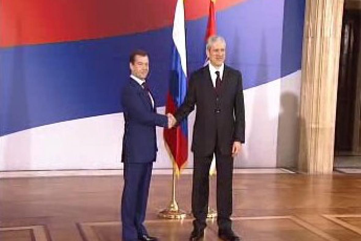 Dmitrij Medveděv a Boris Tadić