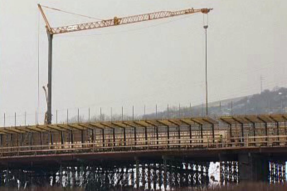 Rozestavěný most v Litoměřicích