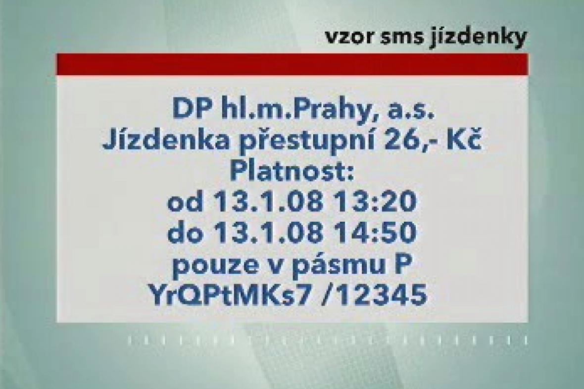 Vzor SMS jízdenky