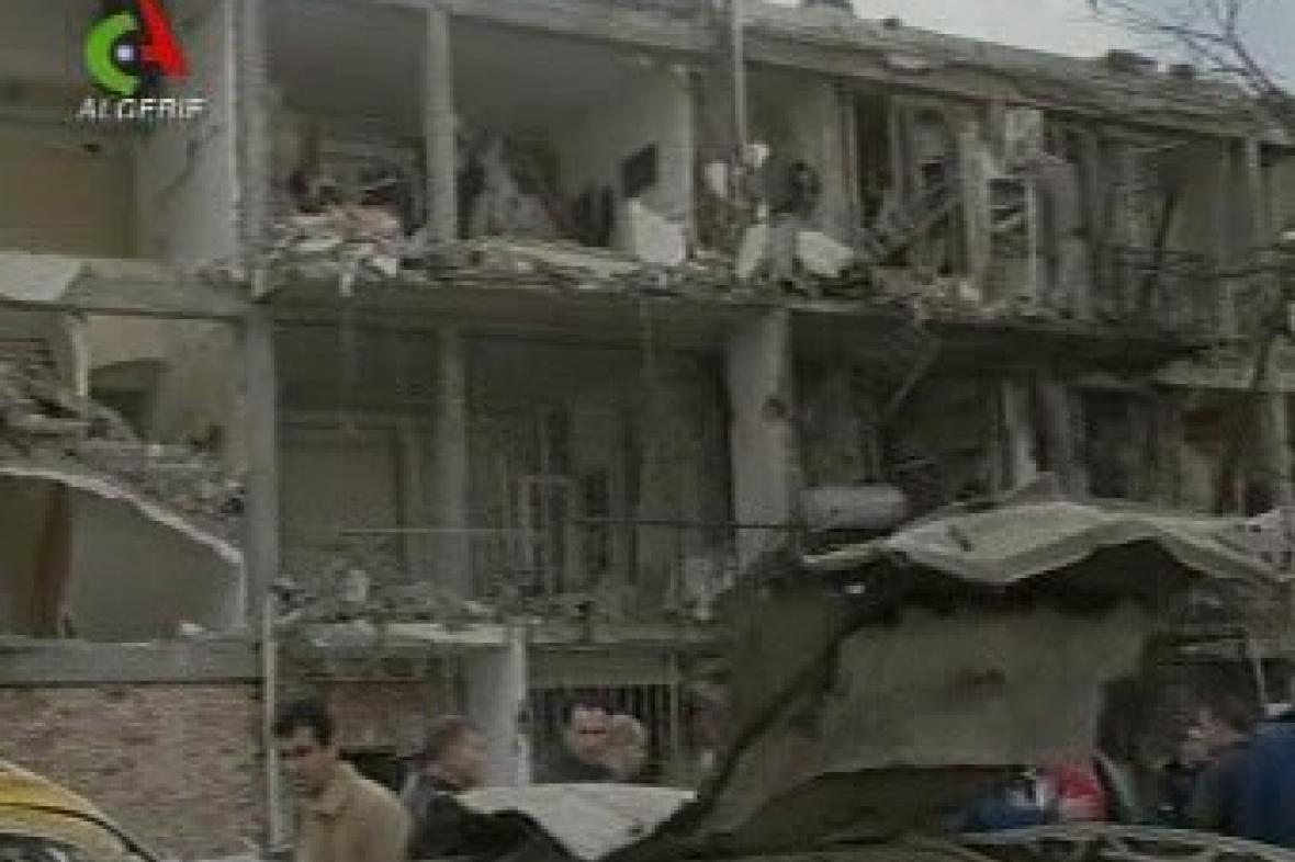 Budovy OSN zničené výbuchem