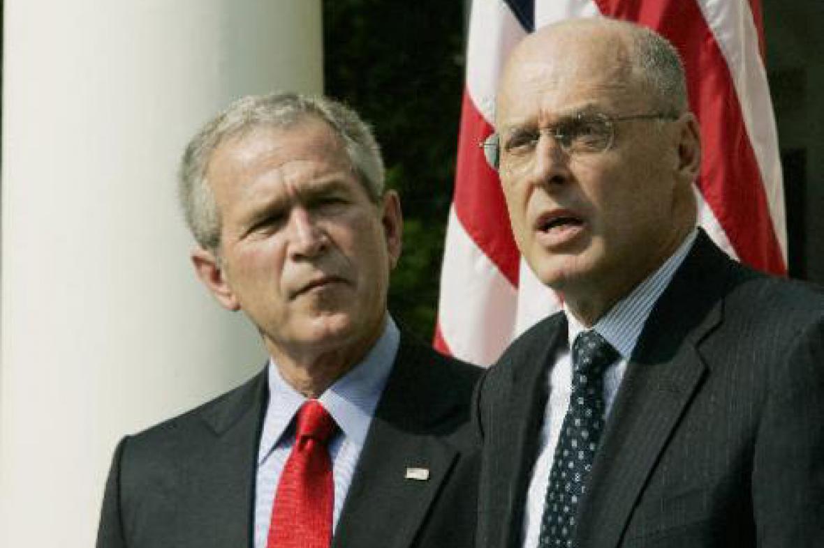 Bush se svým ministrem financí Poulsenem