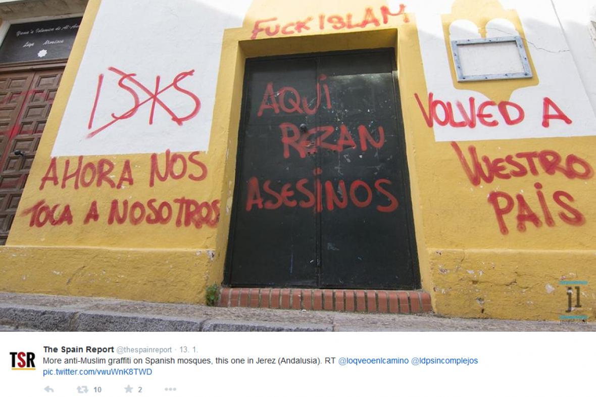 Graffiti na španělské mešitě