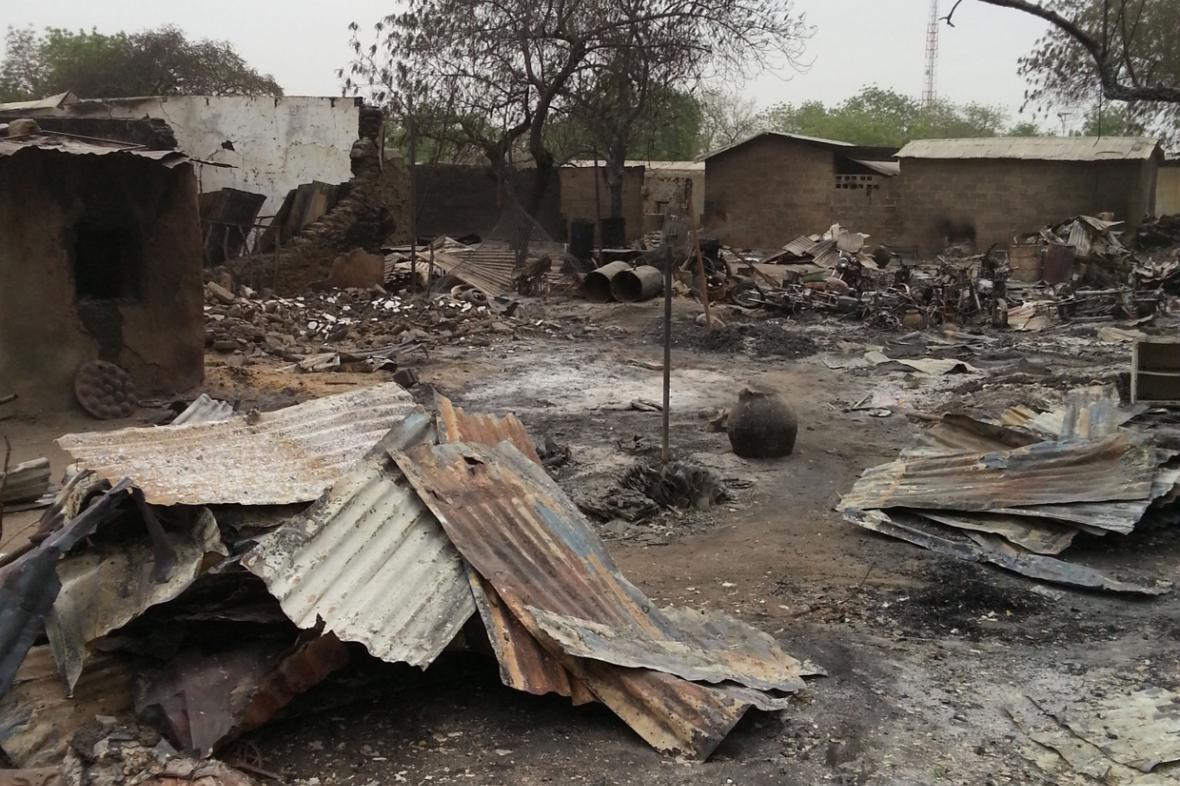 Město Baga po útoku Boko Haram