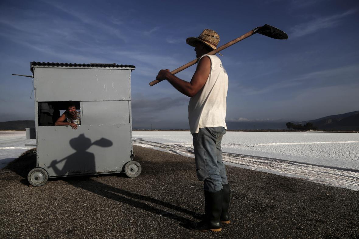 Těžba soli v Řecku