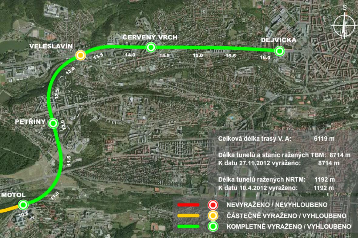 Mapa prodloužené trasy metra A