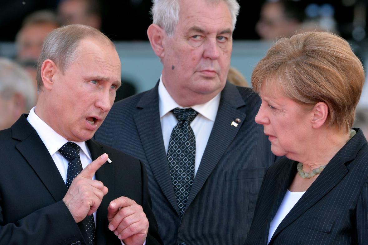 Setkání v Normandii - Putin, Zeman a Merkelová