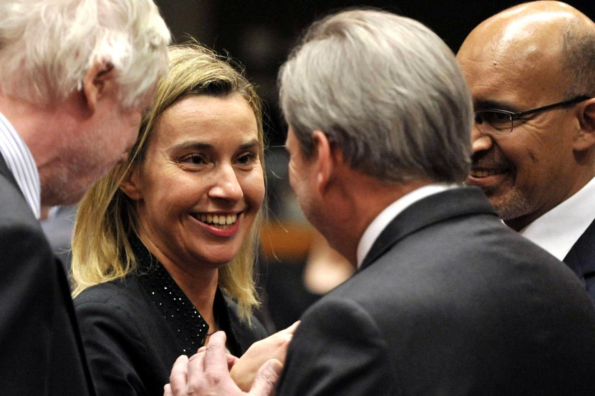 Federica Mogheriniová na schůzce ministrů zahraničí EU k Ukrajině