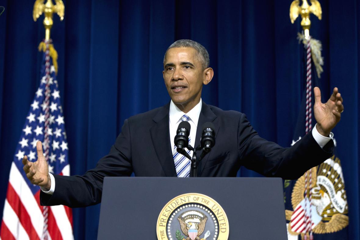 Barack Obama během projevu na protiteroristickém summitu