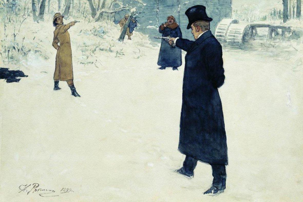 Ilja Repin: Souboj Oněgina s Lenským