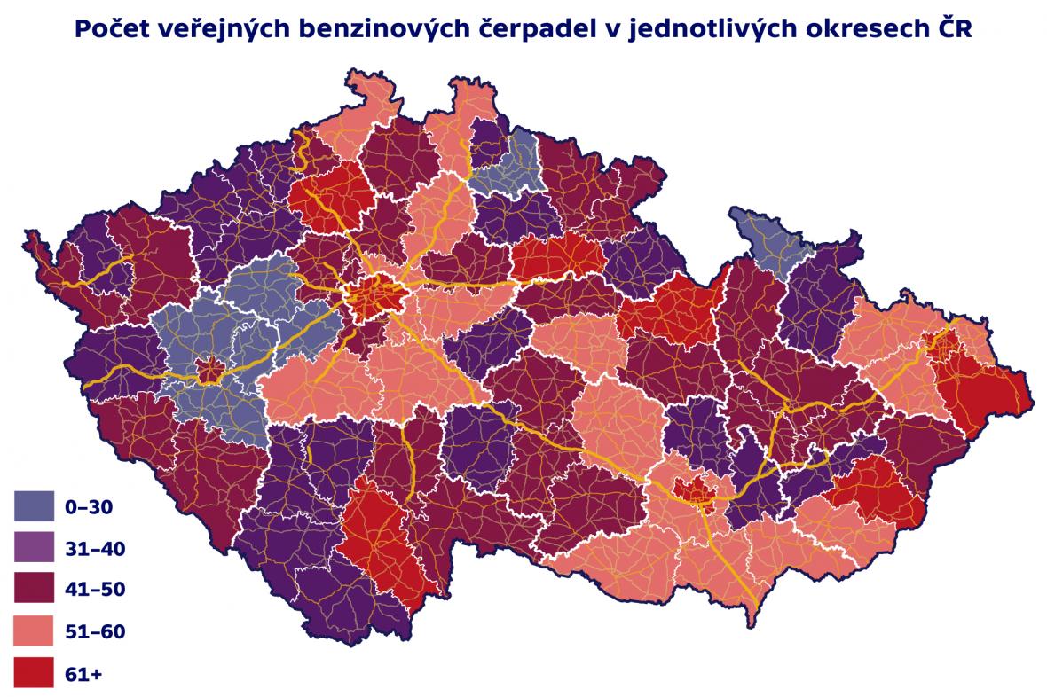 Počet veřejných benzinových čerpadel v jednotlivých okresech ČR