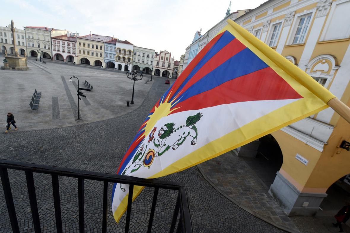 Tibetskou vlajku vyvěsili v Novém Jičíně