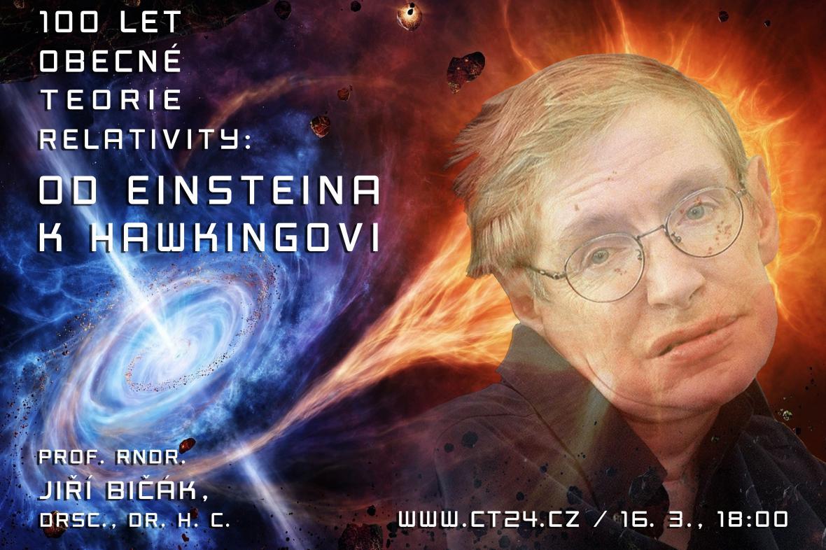 Plakát k přednášce 100 let obecné teorie relativity