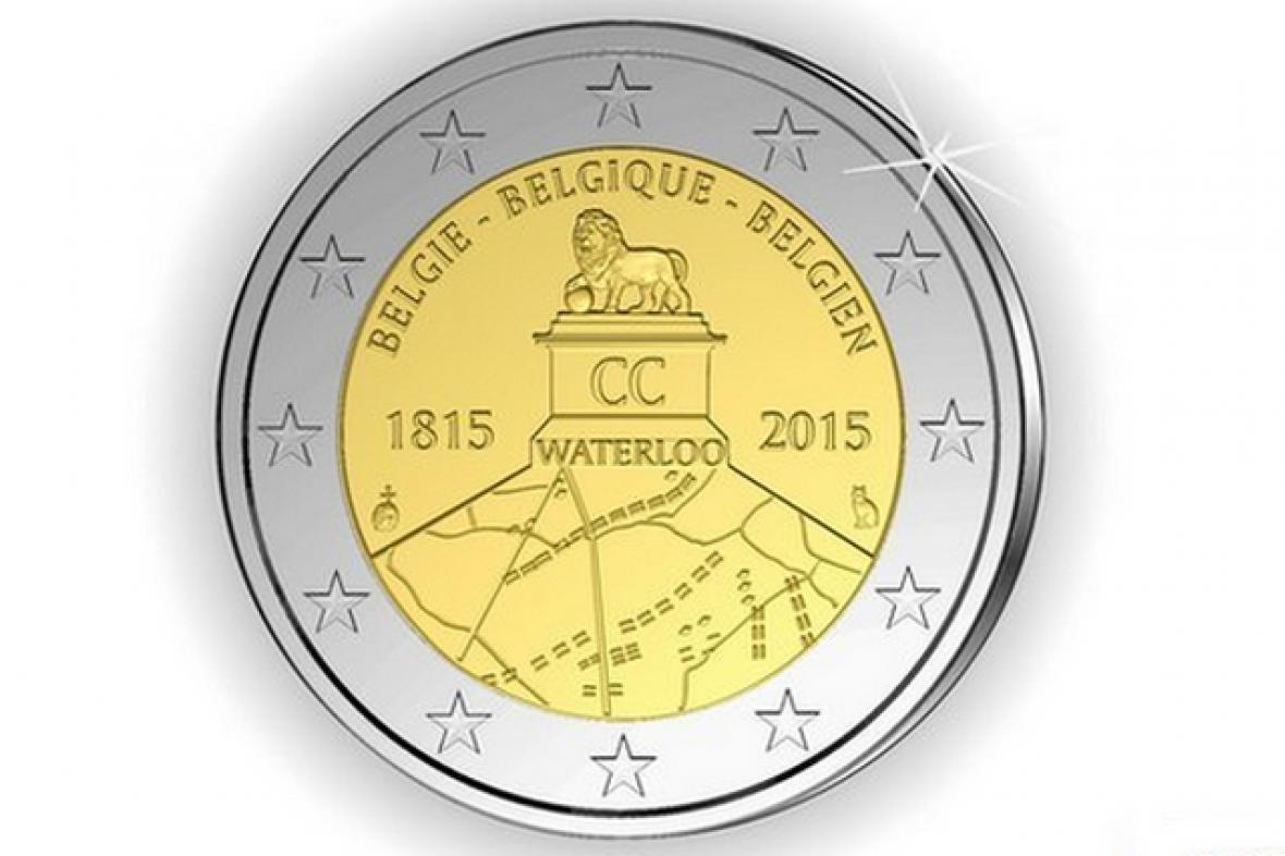 Dvoueurová mince k upomínce bitvy u Waterloo