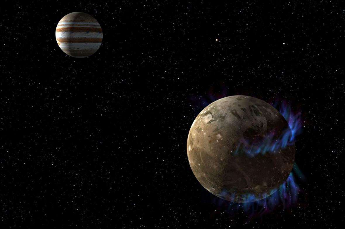 Pod povrchem Jupiterova měsíce Ganymede zjistili vědci vodu