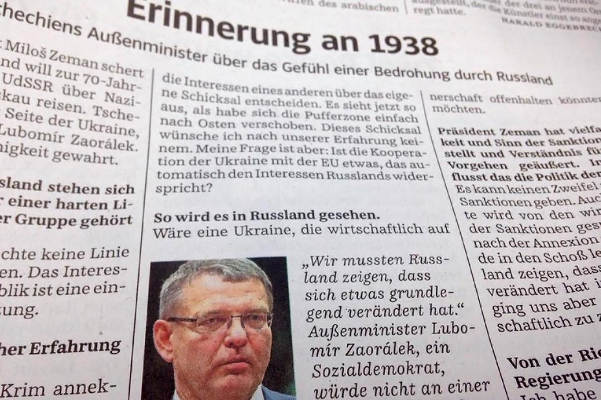 Lubomír Zaorálek pro Süddeutsche Zeitung