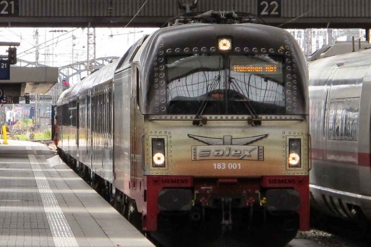 Vlak z Prahy v Mnichově