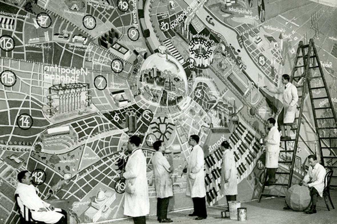 Vídeň v roce 3000, návrh architekta Siegfrieda Theisse na karnevalu v Domě umělců, 1933