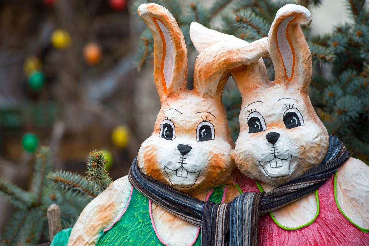 Německým dětem velikonoční zajíc schovává vajíčka po zahradě