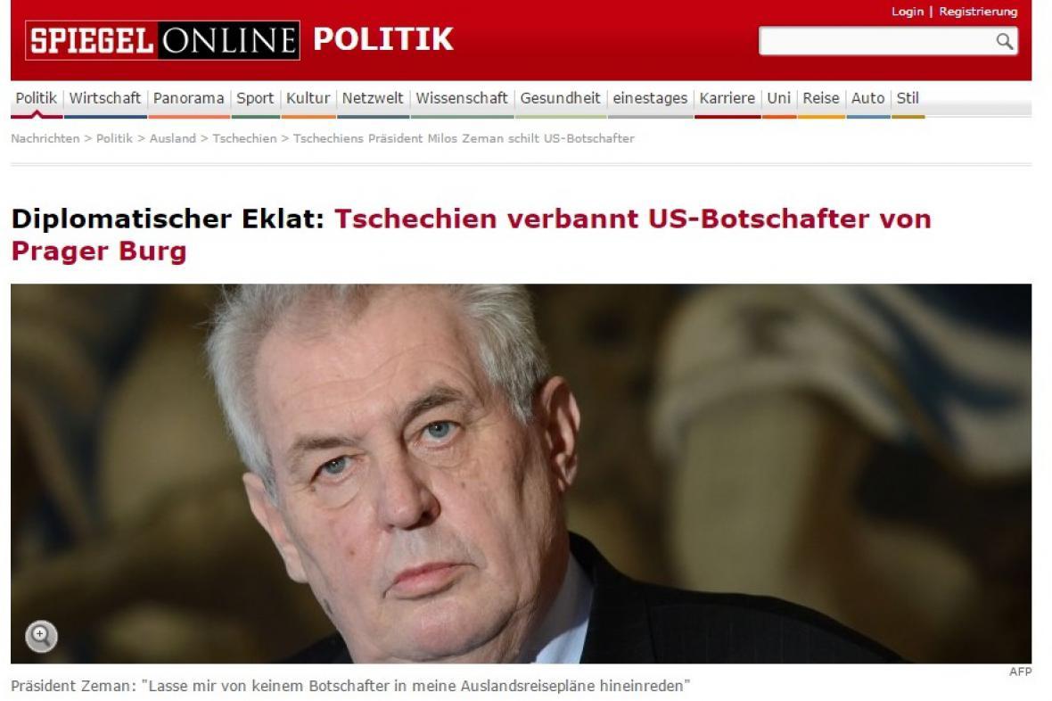 Německý Spiegel píše o diplomatickém skandálu