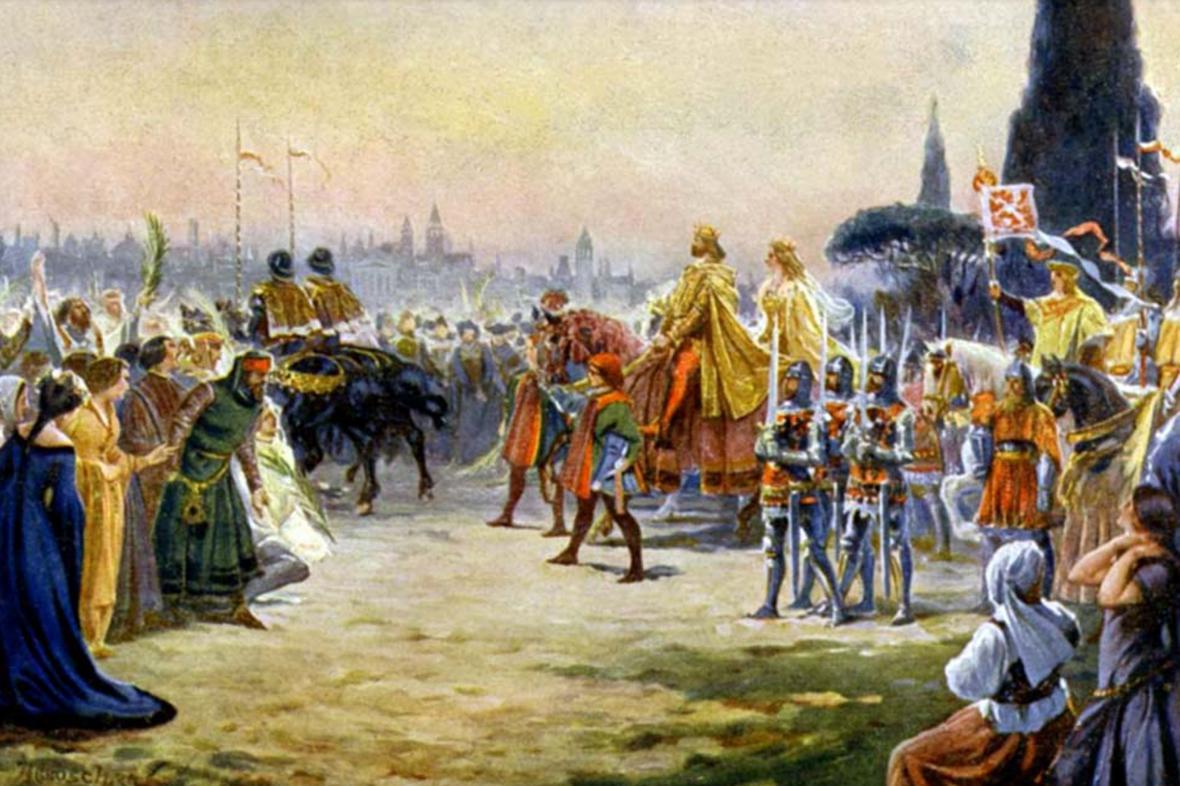 Plakát k přednášce: První římská jízda Karla IV.