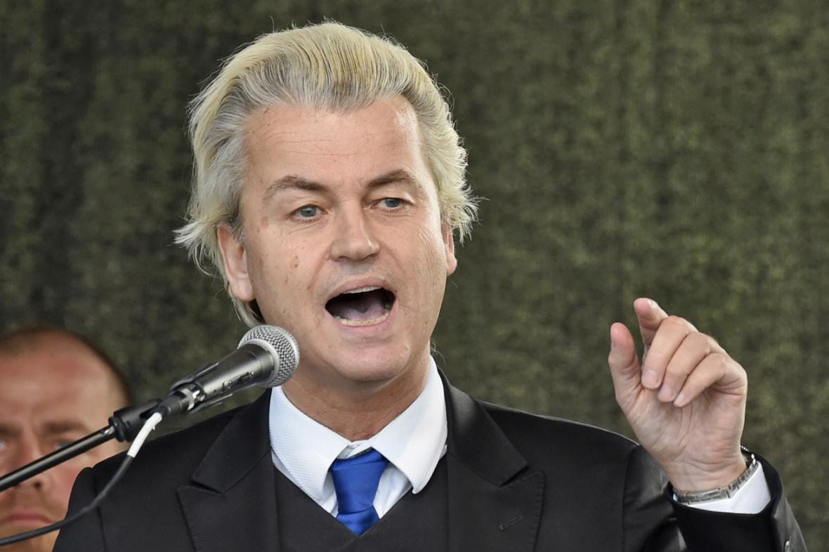 Geert Wilders na drážďanské demonstraci Pegidy