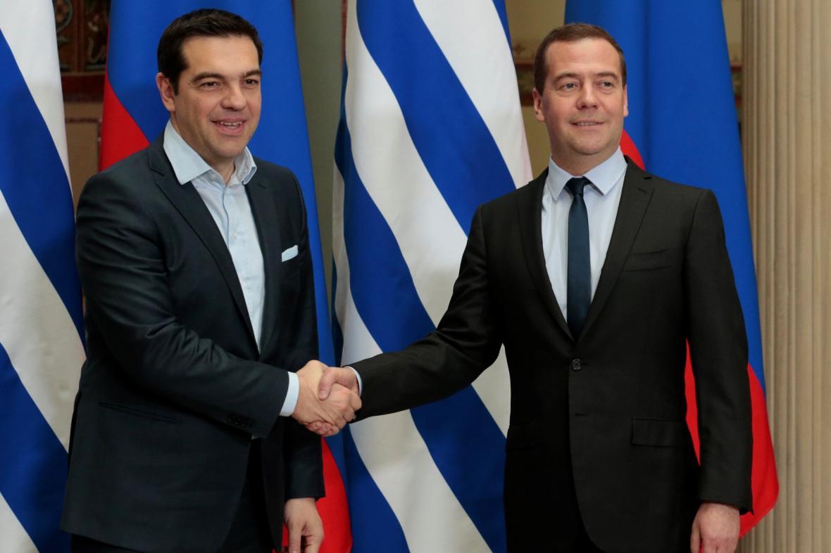 Alexis Tsipras a Dmitrij Medvěděv