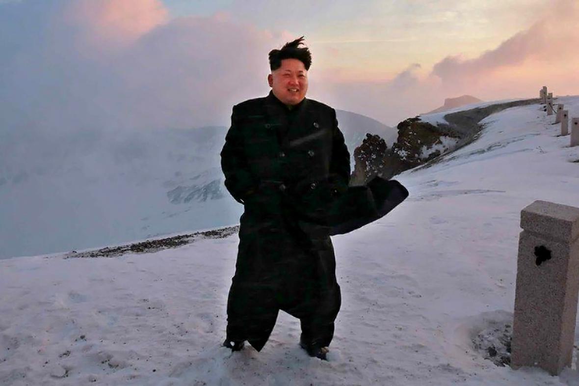 Kim Čong-un na hoře Pektu
