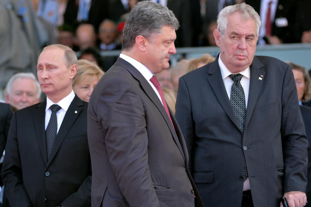 Vladimir Putin, Petro Porošenko a Miloš Zeman