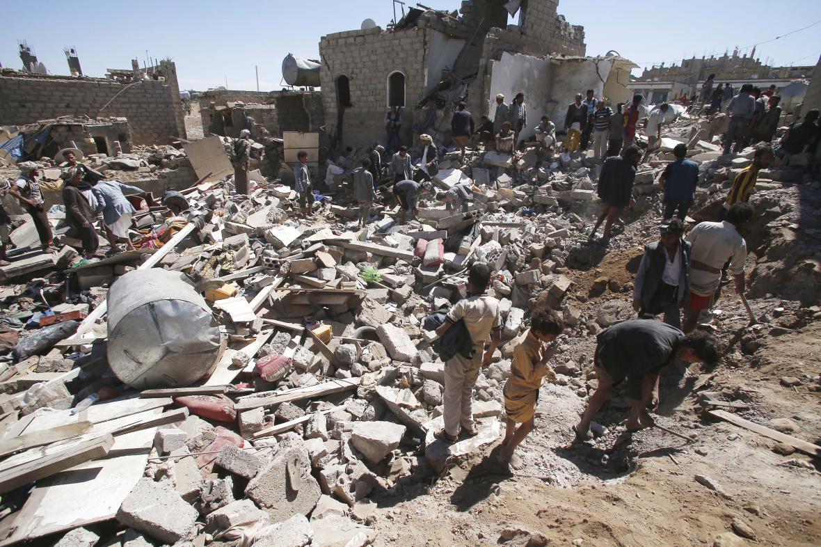 Následky bojů v Jemenu