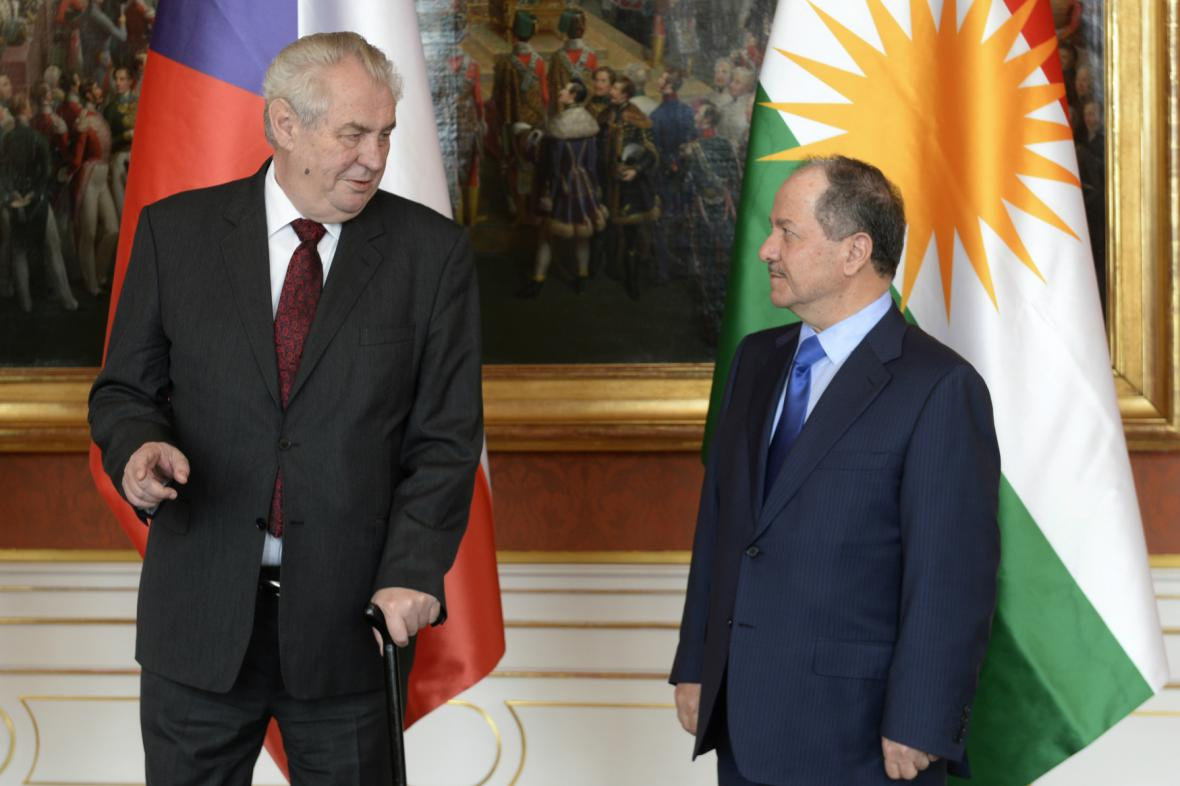 Miloš Zeman s prezidentem Kurdistánu Masúdem Barzáním
