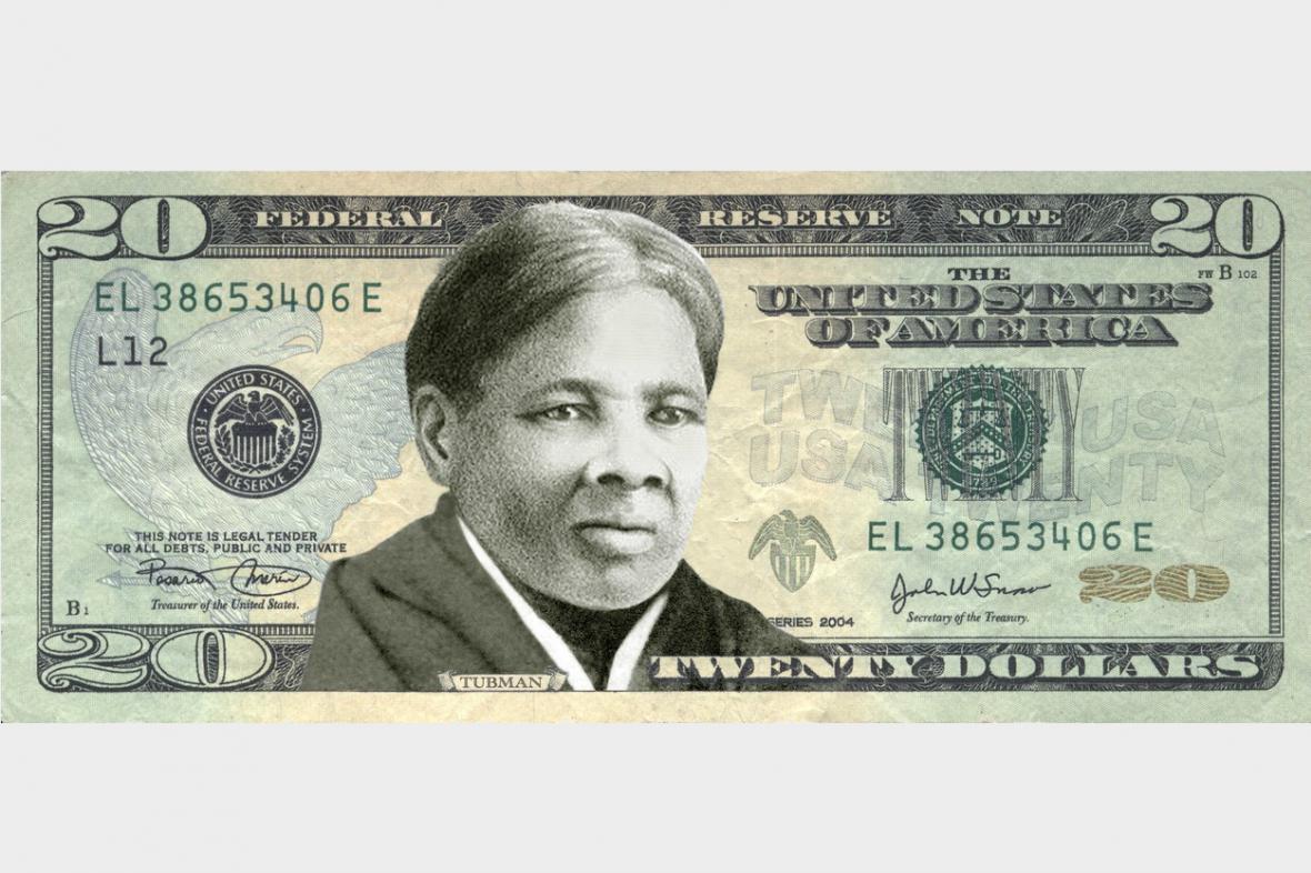 Návrh bankovky s Harriet Tubmanovou