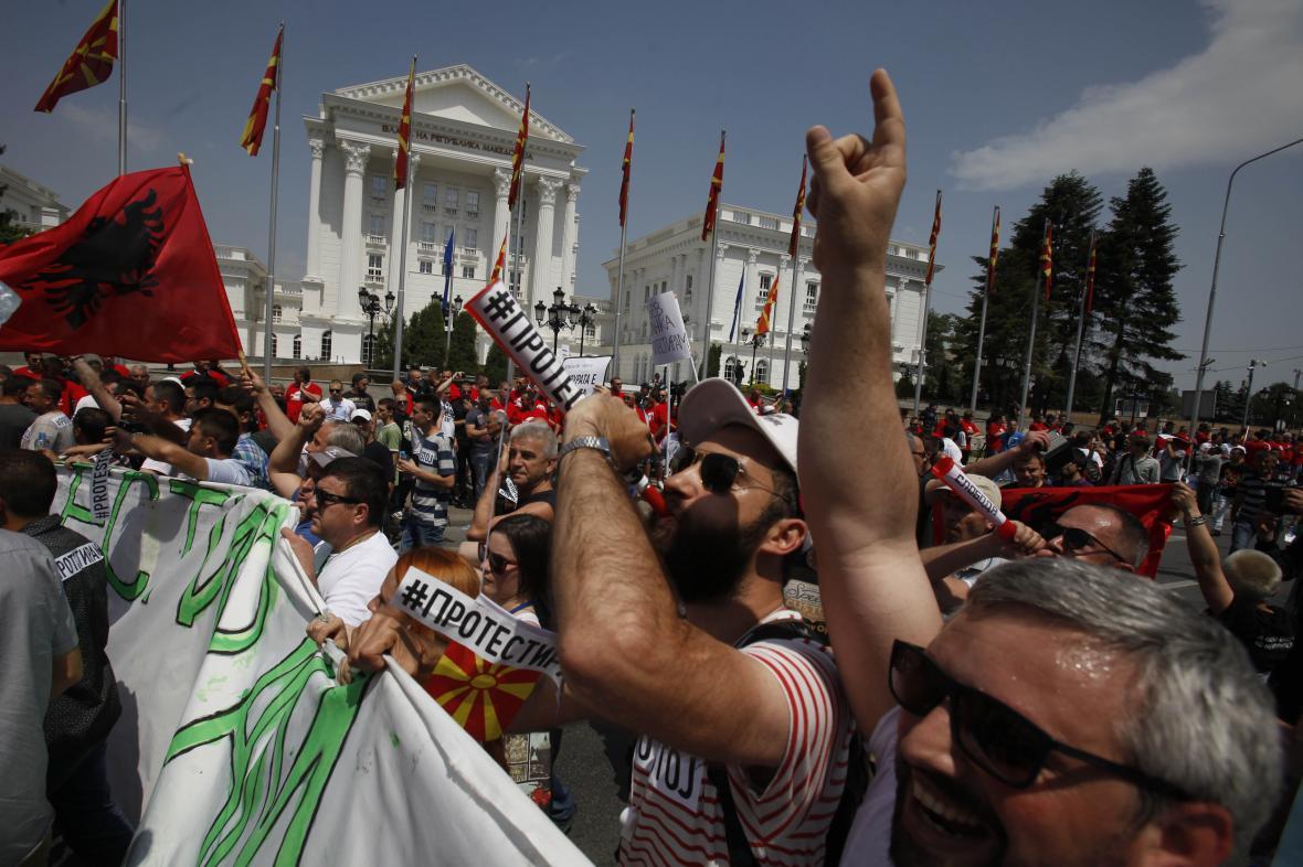 Demonstrace v makedonské metropoli Skopji