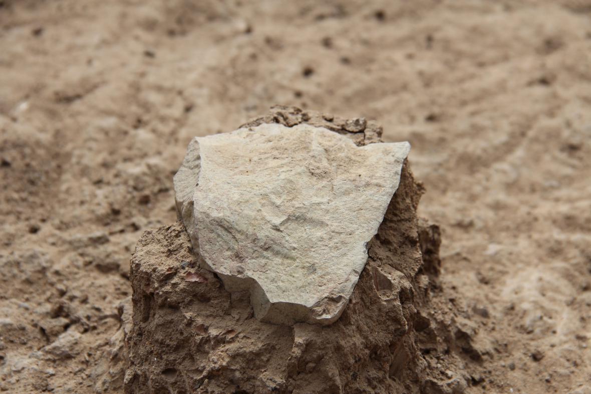 Jeden z kamenných nástrojů nalezených u jezera Turkana
