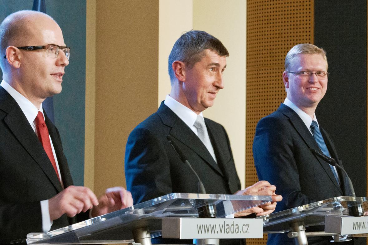 Lídři koalice Bohuslav Sobotka, Andrej Babiš a Pavel Bělobrádek.
